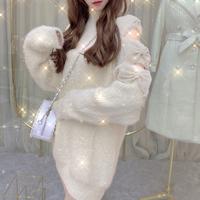 Ribbon shoulder mohair knit dress(No.301922)【black , white , cream】