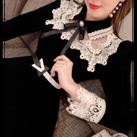 Classic lace black velour dress(No.301963)
