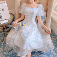 Icy flower tulle long dress(No.302317)