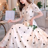 Back ribbon dot long dress(No.301195)