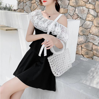 Asymmetry shoulder flower lace setup(No.301283)【white , black】