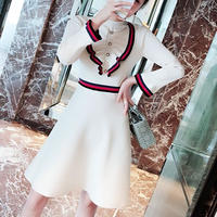 tricolore frill  knit OP(No.300519)