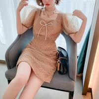 Dot tulle ribbon brooch dress(No.301594)