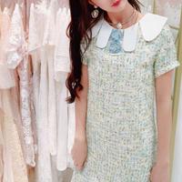 Mint tweed flower button dress(No.300656)