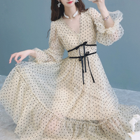 Tape ribbon belted dot tulle dress(No.301561)