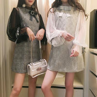 lace sleeve blouse & check OP(No.300575)