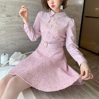 Sakura pink tweed docking dress(No.301711)