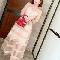 Pink beige long tulle dress(No.301178)