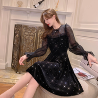 Point bijou velour black dress(No.301700)