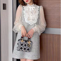 Classical tweed lacy dress(No.300930)【2color】