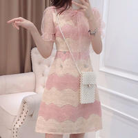 Fruity two color lace dress(No.300681)