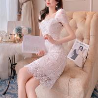 Cache-coeur sleeve lacy midi dress(No.301405)