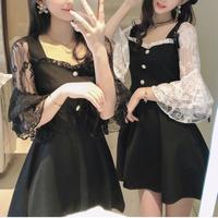 Monotone lace sleeve dress(No.101083)【2color】