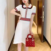 Tricolore summer knit dress(No.301148)【2color】