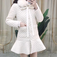 Fur tippet quilting dress coat(No.301762)【red , white】