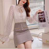 Latte color ribbon blouse & chidori tweed skirt (No.301675)