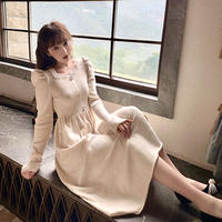 Classical puff sleeve knit long dress(No.301799)【black , cream】
