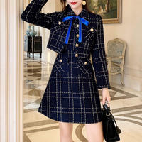 Navy classic check jacket & dress set(No.300842)