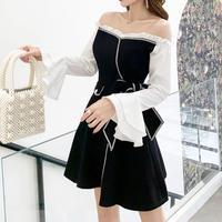 Frill off-shoulder monotone dress(No.301017)