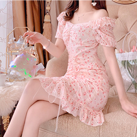 Two way shoulder cherry pink dress(No.301129)