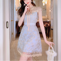 Pale tone flower lace dress(No.301067)
