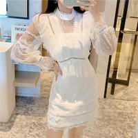Muse cutting lacy white dress(No.301612)