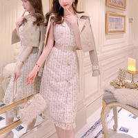 Melty check tweed dress / double button short trench(No.301019)