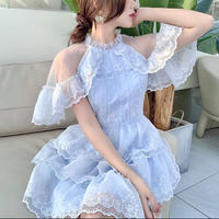Icy neck flare lace dress(No.302284)