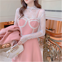 Peach pink melton fabric dress(No.030936)