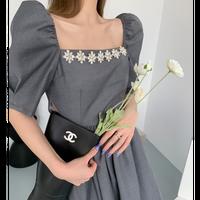 Side slit décolleté bijou dress(No.302255)