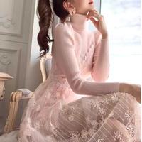 Sakura pink knit & flower lace dress(No.301843)