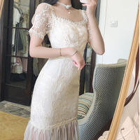 Lady tight silhouette lace dress(No.301368)【pink , white】