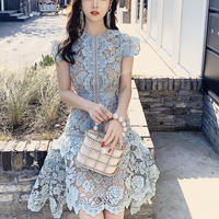 Cutting blue lace frill dress(No.300999)
