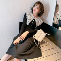 Big lace collar knit midi dress(No.301822)