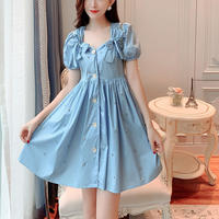 Point bijou flare ribbon dress(No.301304)
