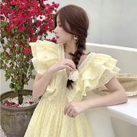 Sweet lemon volume frill mini dress(No.302303)