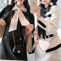 Big ribbon tweed dress & jacket set(No.300851)【2color】
