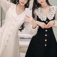 Round lace collar A-line dress(No.300760)【2color】