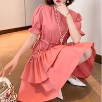 Petite pearl line cache-coeur dress(No.301290)【white , pink】