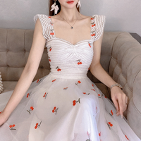 Cherry embroidery tulle long dress(No.301412)