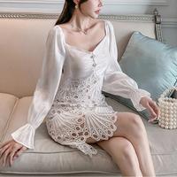Cutting lace muse white dress(No.301779)