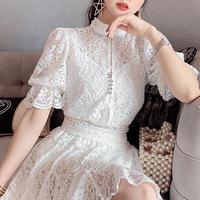 Bijou button lace setup(No.301055)【white , black】