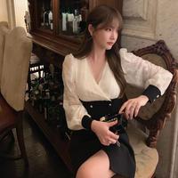 Two tone lady double button dress(No.301546)