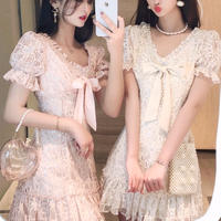 Blink lacy puff sleeve dress(No.301182)【2color】