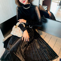 Shoulder see-through velour long dress(No.301747)