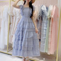 Back ribbon maxi frill dress(No.300659)