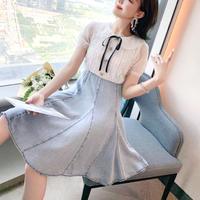 Tulle puff sleeve denim docking dress(No.301381)