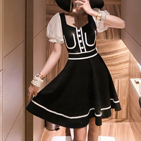 Piping mono puff sleeve dress(No.301158)