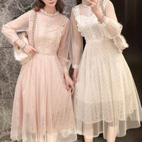 Simple crochet lace long dress(No.300963)【3color】
