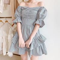 Gingham check ruffle frill dress(No.300704)